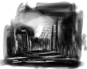 An exercise in using photoshop brushes to achieve the same look as conte' crayons…I'm getting closer.